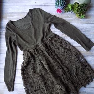 Medium Forest Green Crochet Lace Modcloth Dress
